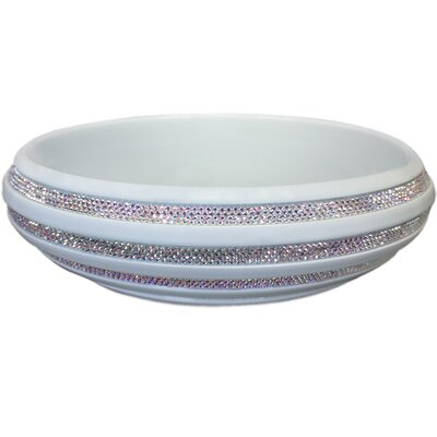Swarovski Crystal Metal Circular Vessel Bathroom Sink Finish: White / Aurora Borealis