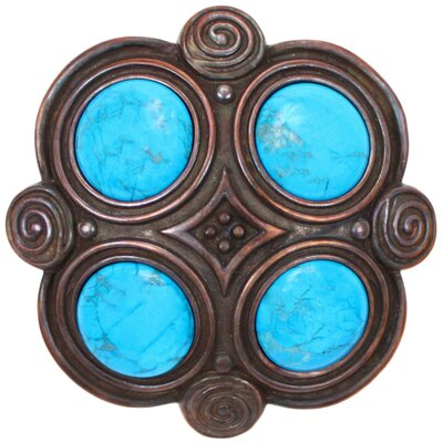 Quad Turquoise Grid Shower Drain Finish: Weathered Copper, Overflow: No