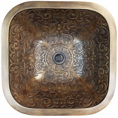 Brocade Square Vessel Bathroom Sink Finish: Antique Bronze