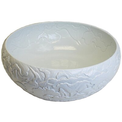 Hand Carved Ceramic Circular Vessel Bathroom Sink Finish: White Glaze