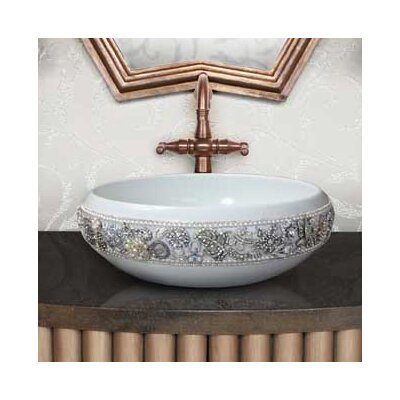 Jeweled Ceramic Circular Vessel Bathroom Sink Finish: White Glaze