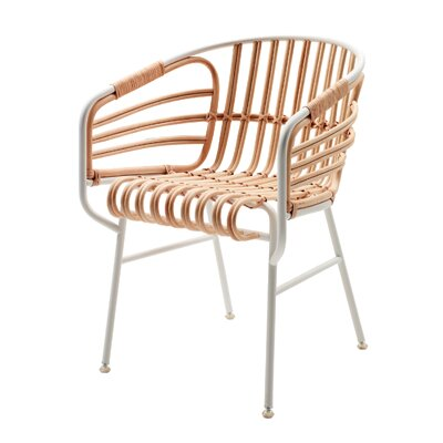 Raphia Barrel Chair Color: White