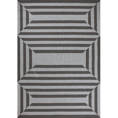 Hamptons Emerson Hand-Hooked Charcoal Indoor/Outdoor Area Rug Rug Size: Rectangle 66 x 96