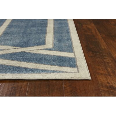 Winston Directional Border Teal Area Rug Rug Size: Rectangle 89 x 13
