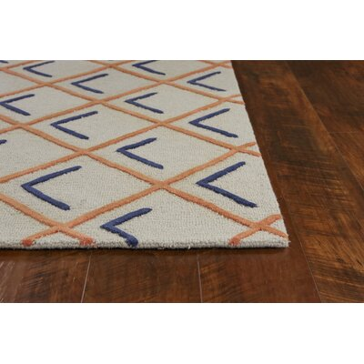 Soho Square Hand-Tufted Wool Tangerine/Indigo Cooper Area Rug Rug Size: Rectangle 5 x 7