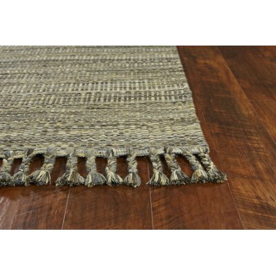Homespun Mission Hand Woven Wool/Cotton Slate Area Rug Rug Size: Rectangle 9 x 12