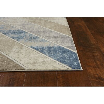Winston Herringbone Tan/Teal Area Rug Rug Size: Rectangle 53 x 77