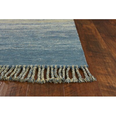 Homespun Landscape Hand-Woven Ocean/Yellow Area Rug Rug Size: Rectangle 9 x 12