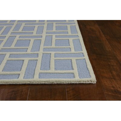 Soho Brick Hand Tufted Wool Ice Blue Area Rug Rug Size: Rectangle 76 x 96