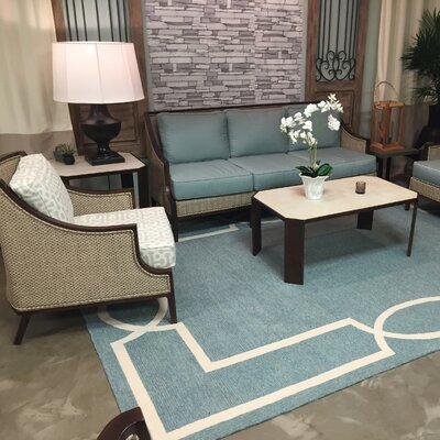 Hamptons Madison Hand-Hooked Spa Indoor/Outdoor Area Rug Rug Size: Rectangle 5 x 7