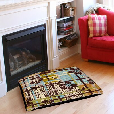 """Floral Study in Plaid Pet Bed Size: 40"""" L x 30"""" W"""