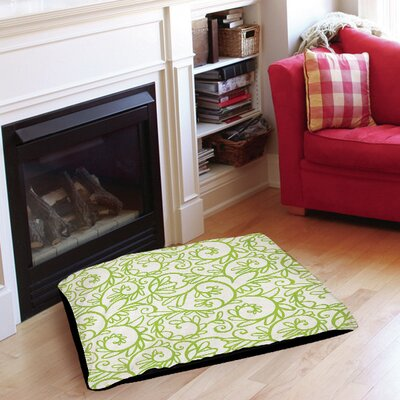 """Funky Florals Swirl Pattern Pet Bed Color: White, Size: 40"""" L x 30"""" W"""