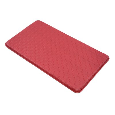 Basket Weave Kitchen Mat Color: Red