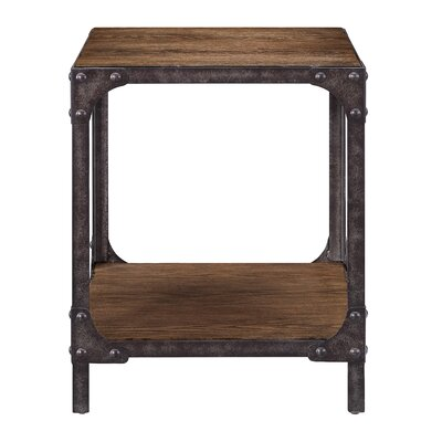 Danette Wood and Metal End Table