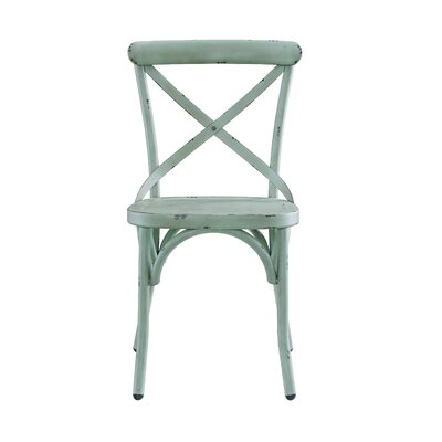 Bendigo Distressed Antique Metal Dining Chair Finish: Blue