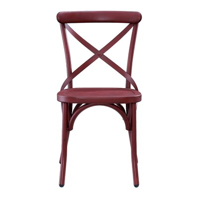 Bendigo Distressed Antique Metal Dining Chair Finish: Red