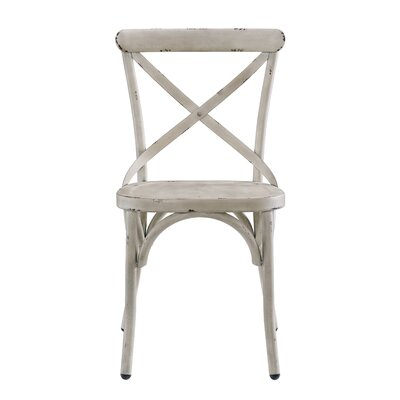 Bendigo Distressed Antique Metal Dining Chair Finish: White