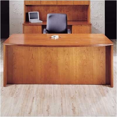 Forte Full Double Pedestal Bow Front Executive Desk with3 File/ 2 Box Drawers Finish: Honey Cherry Product Image 210