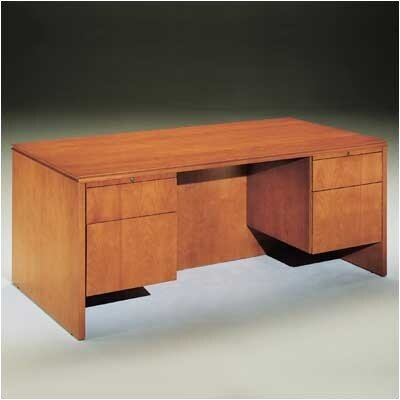 Forte Executive Desk Bofile Drawers Honey Pedestal Double picture