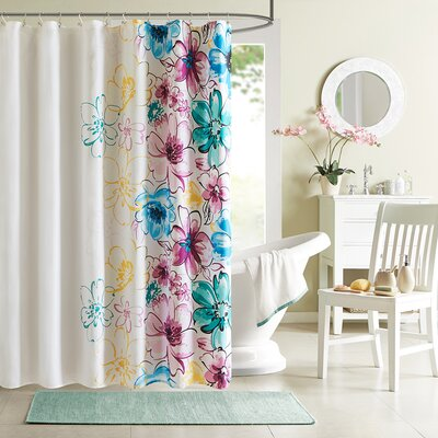 Robert Microfiber Shower Curtain Color: Blue