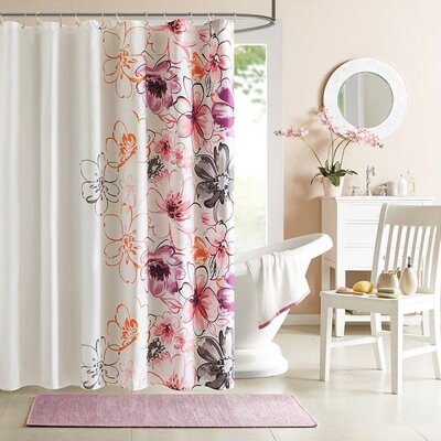 Robert Microfiber Shower Curtain Color: Pink