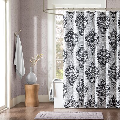 Charlisa Shower Curtain Color: White Black