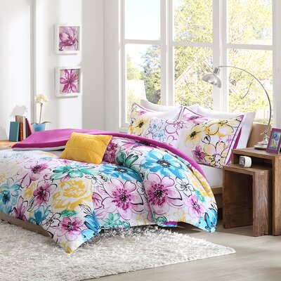 Robert Reversible Comforter Set Color: Blue, Size: Full / Queen