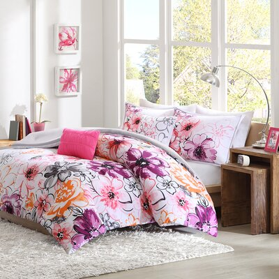 Robert Reversible Comforter Set Color: Pink, Size: Full / Queen