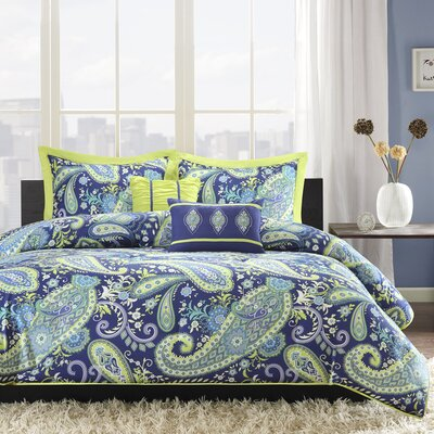 Cairns Comforter Set Size: Full / Queen, Color: Blue / Green