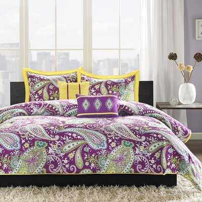 Cairns Comforter Set Size: Full / Queen, Color: Purple