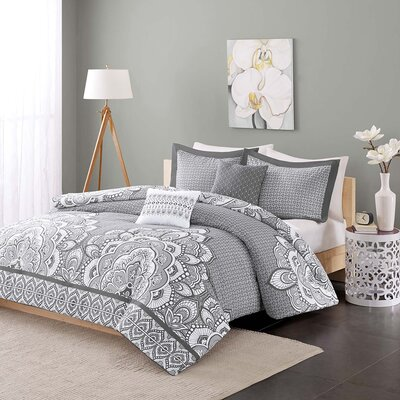 Isabella Duvet Cover Set Size: Twin XL, Color: Gray