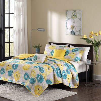 Cinna Coverlet Set Color: Teal/Yellow, Size: Full/Queen