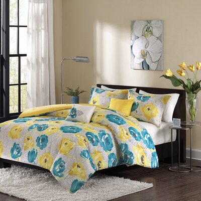 Cinna 4 Piece Duvet Cover Set Color: Teal/Yellow, Size: Full/Queen