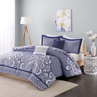 Isabella Comforter Set Color: Blue, Size: Full / Queen