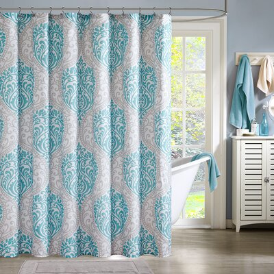 Charlisa Shower Curtain Color: AquaGray Silver