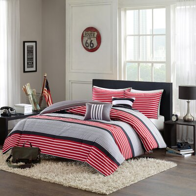 Paul Comforter Set Size: Full / Queen, Color: Red / Black