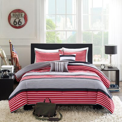 Paul Comforter Set Size: Twin / Twin XL, Color: Red / Black