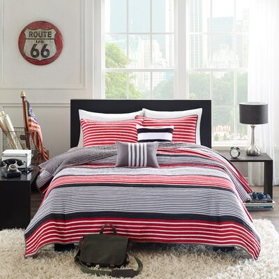 Paul Coverlet Set Size: Twin / Twin XL, Color: Red / Black