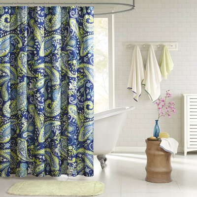 Melissa Shower Curtain Color: Blue / Green