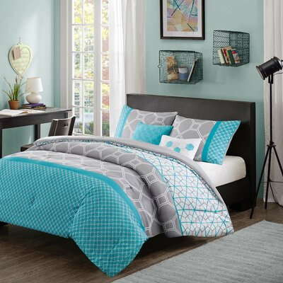 Clara Reversible Comforter Set Size: Full / Queen, Color: Gray