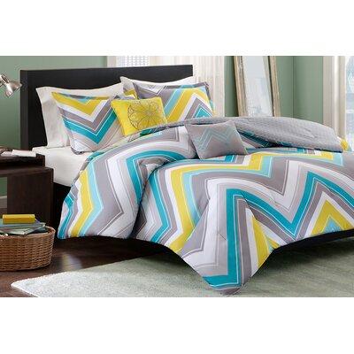 Elise Comforter Set Color: Blue, Size: Full / Queen