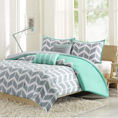 Quinten Comforter Set Color: Teal, Size: Full / Queen