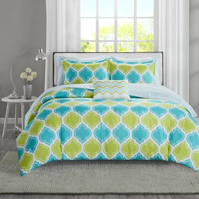 Dixie Complete Bed and Sheet Comforter Set Size: Full, Color: Aqua