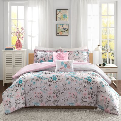 Florence Comforter Set Size: Full/Queen, Color: Pink