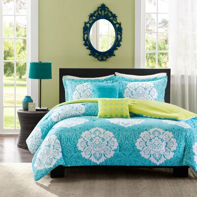 Tanya Comforter Set Color: Blue, Size: Full / Queen