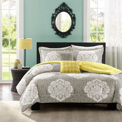 Tanya Comforter Set Color: Grey, Size: Full / Queen