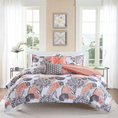 Marie Duvet Cover Set Size: Full/Queen, Color: Orange