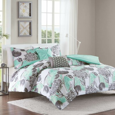 Marie Duvet Cover Set Size: Full/Queen, Color: Aqua