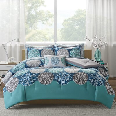 Marissa Complete Bed and Sheet Comforter Set Size: Queen, Color: Blue