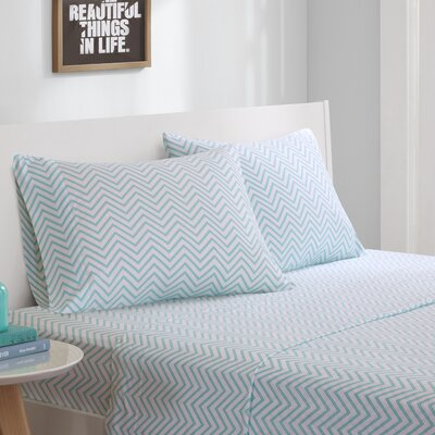 Jersey Knit Sheet Set Size: Twin, Color: Blue Chevron